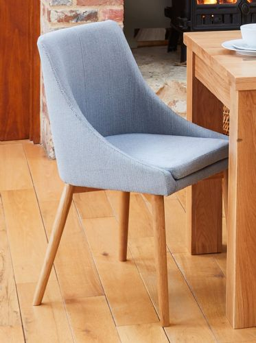 Pair of Oak and Upholstered Dining Chairs